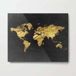 Black Gold Decor, Gold World Map, Office Decor, Bathroom, Glam, Black Wall Art Metal Print