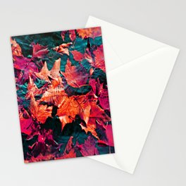 Colorfull Autumn water leaves Stationery Cards