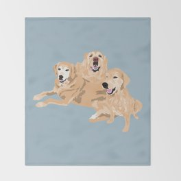 3 Golden Retrievers Throw Blanket