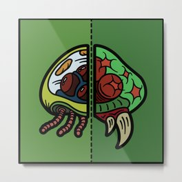 Old & New Metroid Metal Print