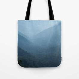 Morning mountains going into the distance Tote Bag