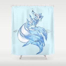 Ice Kitsune Shower Curtain