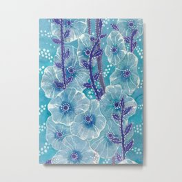 Hollyhock Mallows, Summer Flowers, Floral Art, Turquoise Violet Metal Print