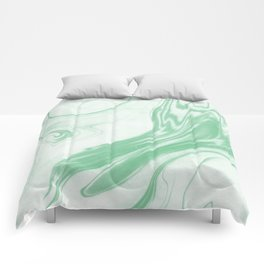 Ryo - happy bright green pastel spilled ink japanese monoprint marbled paper marbling abstract  Comforters