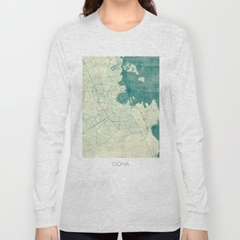 Doha Map Blue Vintage Long Sleeve T-shirt