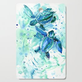 Turquoise Blue Sea Turtles in Ocean Cutting Board