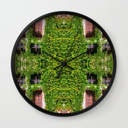 Creeper ivy plant on old stone medieval wall with window surreal kaleidoscope pattern Wall Clock