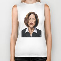 wes anderson Biker Tanks featuring Celebrity Sunday ~ Gillian Anderson by rob art | illustration
