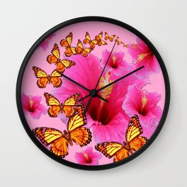 GIRLY PINK HIBISCUS YELLOW MONARCH BUTTERFLIES Wall Clock