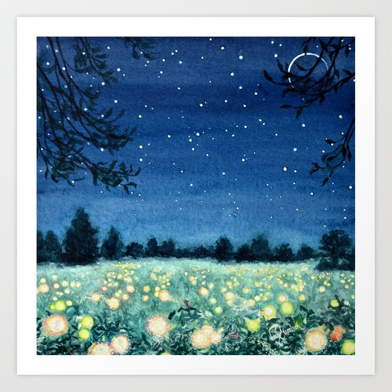 Dance of the Fairies and the Fireflies Art Print