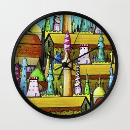 bright pattern of the houses ( https://society6.com/vickonskey/collection ) Wall Clock