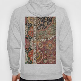 Persian Medallion Rug II // 16th Century Distressed Red Green Blue Flowery Colorful Ornate Pattern Hoody