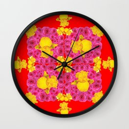 Modern Art Pink Rose Garden Yellow Iris Red Abstract Wall Clock