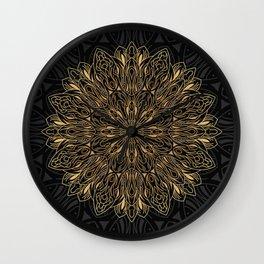 MANDALA IN BLACK AND GOLD Wall Clock