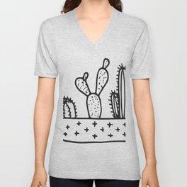 Cactus House Garden Black and White Unisex V-Neck