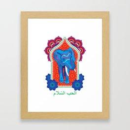 Moroccan Elephant, Peace and Love, elephant print, henna, whimsical, original wall decor Framed Art Print