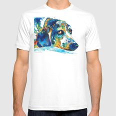 Colorful Beagle Dog Art By Sharon Cummings MEDIUM Mens Fitted Tee White