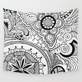 Zen Tangle Black and White Wall Tapestry