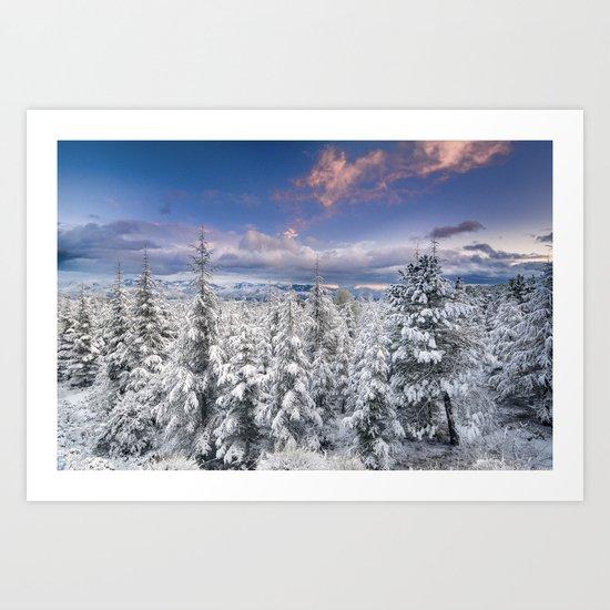 """Mountain light"". Snowy forest at sunset Art Print"