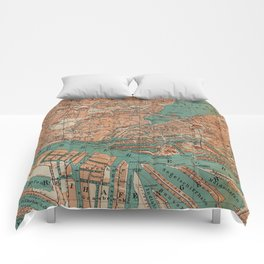 Vintage Map of Hamburg Germany (1910) 2 Comforters