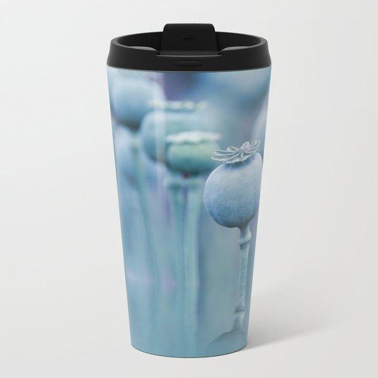Poppy capsules blue style Metal Travel Mug