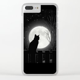 Silent Night Cat and full moon Clear iPhone Case