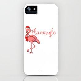 Flamingle All The Way Merry Christmas Happy New Year December 25 T-shirt Design Xmas Holidays Season iPhone Case