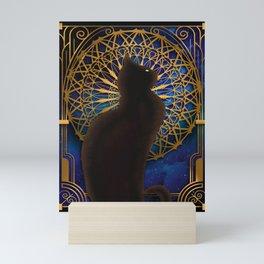 Celestial Sable - Black Cat And Night Magic Mandala Mini Art Print