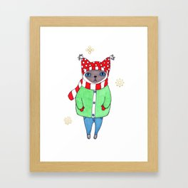 Cute Siamese Cat in Winter Scarf, Hat, Mittens, and Coat Framed Art Print