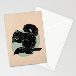 Squirrel in black with turquoise background - Linocut Block Print on Kraft Paper Stationery Cards