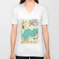 princess bride V-neck T-shirts featuring Princess Bride Discovery Map by Wattle&Daub