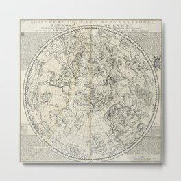 Antique Northern Celestial Hemisphere Map Metal Print