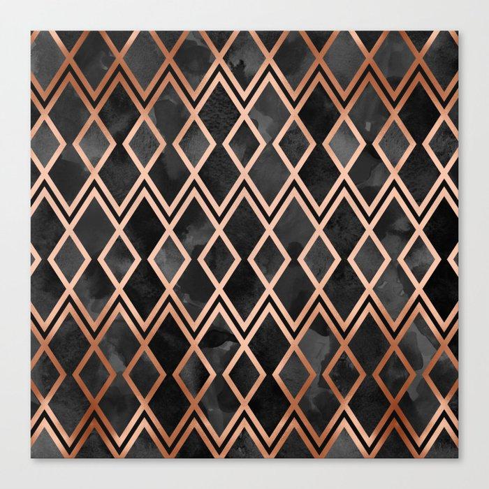 Copper & Black Geo Diamonds Leinwanddruck