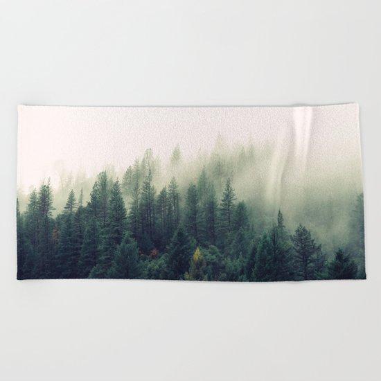 The Foggy Forest Beach Towel