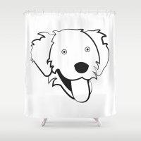 golden retriever Shower Curtains featuring Golden Retriever by anabelledubois