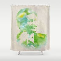 anchorman Shower Curtains featuring Ron Burgundy - Watercolor by Outdoor Bro