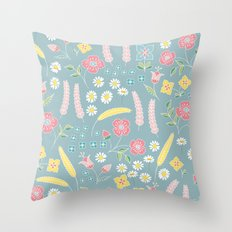 Mixed floral pattern on blue- homedec Throw Pillow
