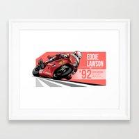 nan lawson Framed Art Prints featuring Eddie Lawson 1992 Hungaroring by Evan DeCiren