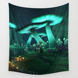 Luminous Mushrooms Wall Tapestry