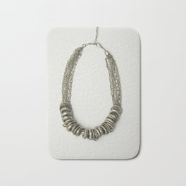 Mongolian silver necklace Bath Mat