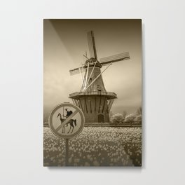 Sepia Toned No Tilting at the Windmills with Don Quixote Sign and Windmill Metal Print