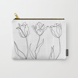 Botanical illustration line drawing - Three Tulips Carry-All Pouch