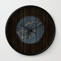 skyrim Wall Clocks featuring Shield's of Skyrim - Windhelm by VineDesign