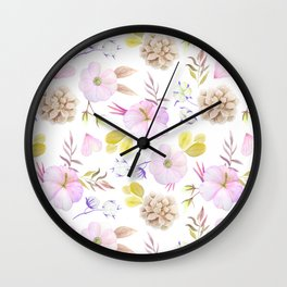 Artist hand painted blush pink lavender watercolor floral Wall Clock