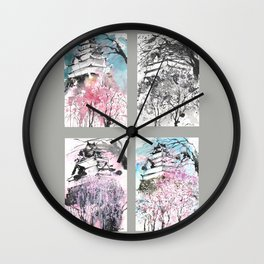 Grid Series No.6 Japanese castle in Spring Wall Clock