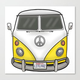 Yellow Camper Van - Hippie Bus Canvas Print