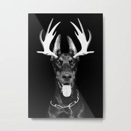 Dobberman antlers Metal Print