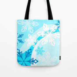 Blue Flower Art Winter Holiday Tote Bag