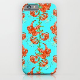 Tiger Lilies (Light Blue Background) iPhone Case
