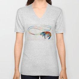 Colorful Shrimp Art by Sharon Cummings Unisex V-Neck
